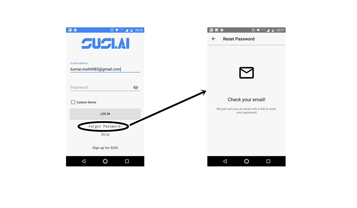 Integrating Forgot Password feature within Login Screen in SUSI Android App