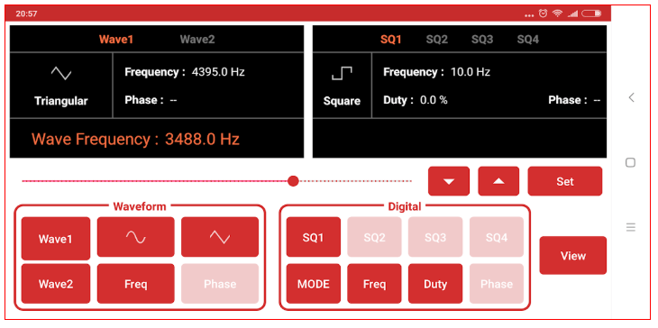 Producing Waveforms using Wave Generator module in the PSLab Android App