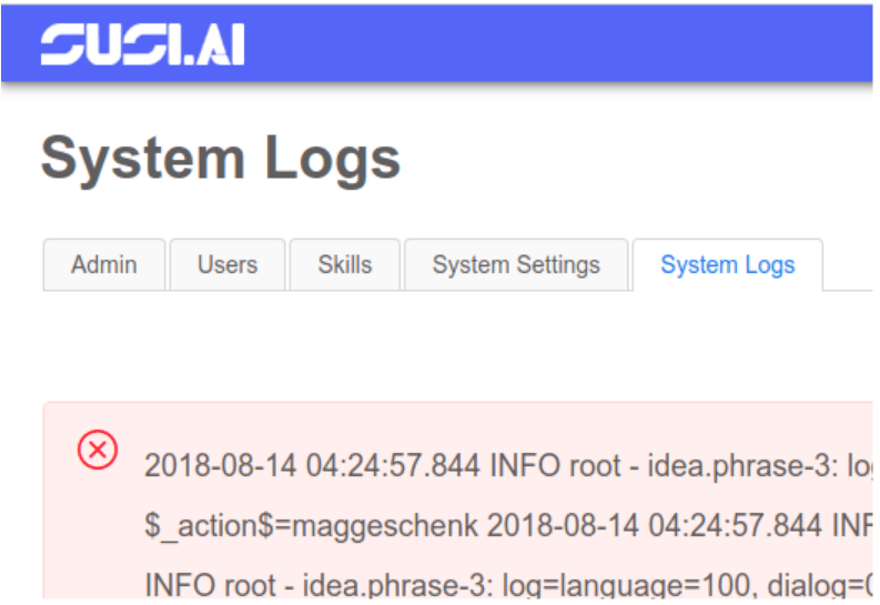 Implementing System Logs in SUSI.AI Admin Panel