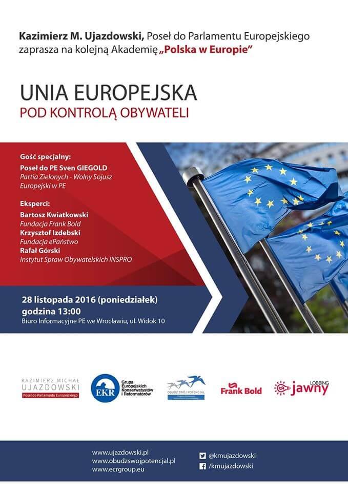 """Zaproszenie na dyskusję """"Unia Europejska pod kontrolą obywateli"""""""