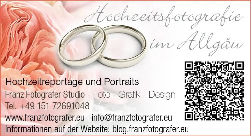 Hochzeitsfotografie, Hochzeitsfotos und Fotoreportagen professionelle Hochzeitsfotografen von Franz Fotografer Team für Ihre Hochzeit im Allgäu