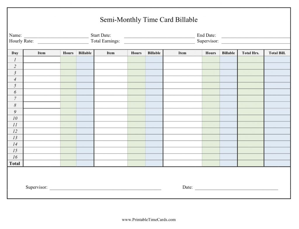 Printable Time Cards