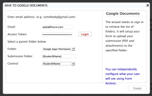 Save to Google Documents wizard.
