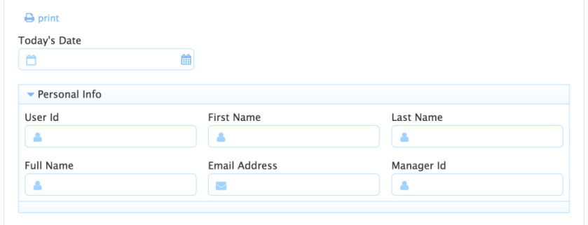 frevvo form with Today's Date, User Id, First Name, Last Name, Full Name, Email Address and Manager Id fields.