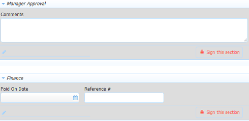 Manager Approval and Finance sections in step 1 of the Expense Report workflow.