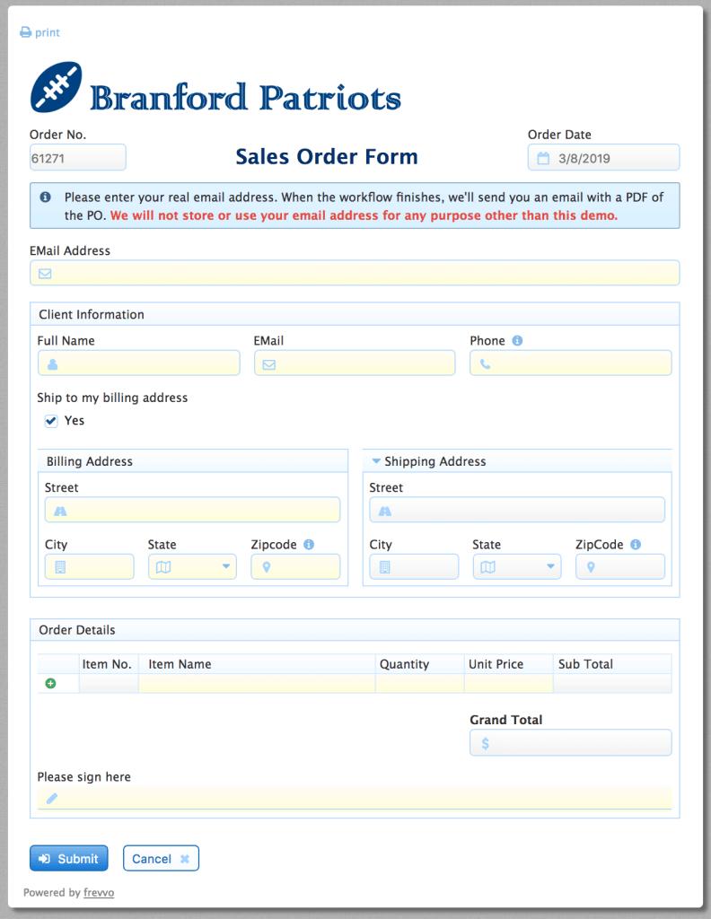 sales order form sample
