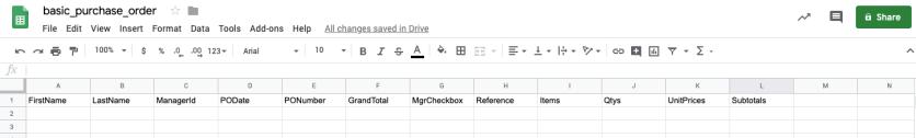 Google Sheet with column names.