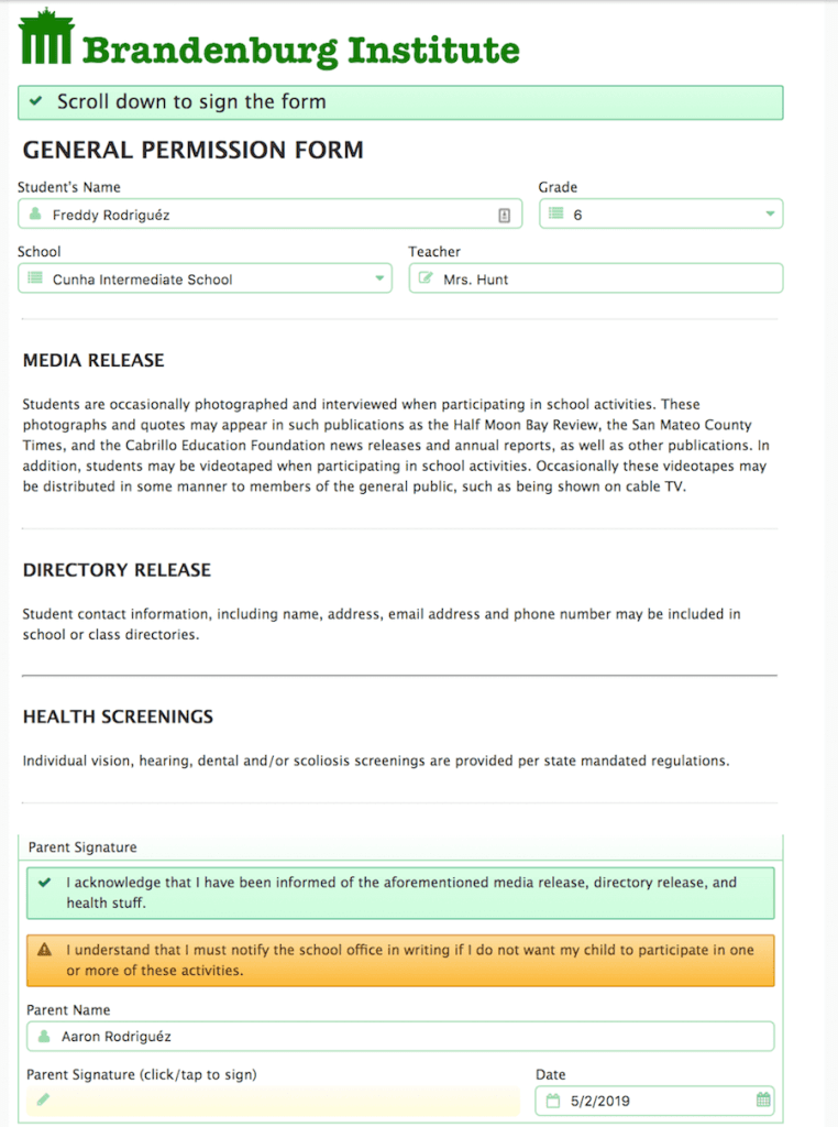 Example of a General Permission Form available online.