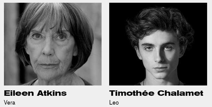 headshots of Eileen Atkins and Timothee Chalamet