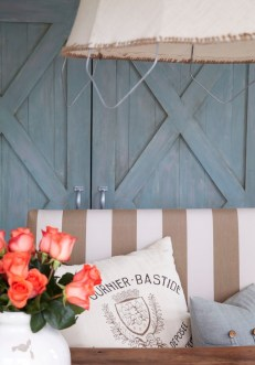 Stripes, flowers and rustic pillow