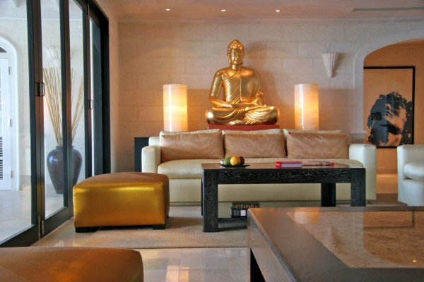 Zen Living Room Ideas With Buddha Painting Design