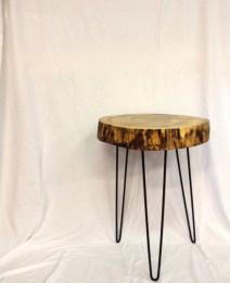 Tree Stump End Table Hairpin Legs