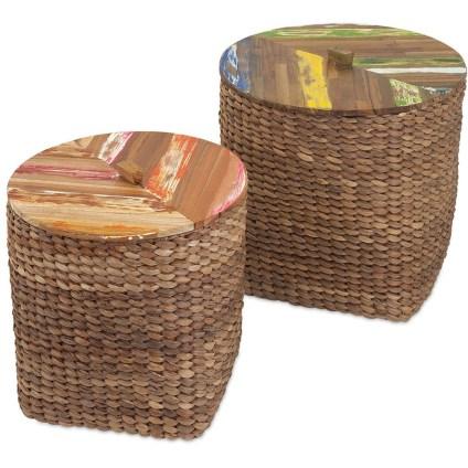 Woven Basket Wood Top