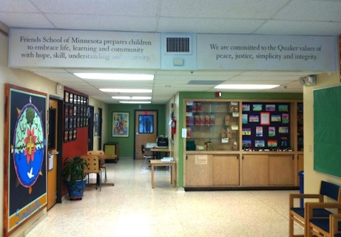 mission statement in the hall of Friends School of Minnesota