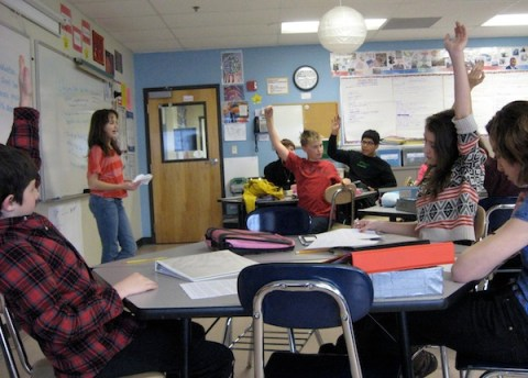 student leading class discussion of current events