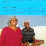 A fifth grader and his mom volunteer at Feed My Starving Children