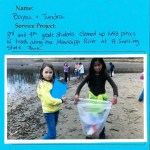 5th & 6th graders clean up a beach on the Mississippi River