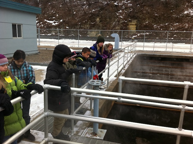 Friends School of Minnesota 5th and 6th graders learn about sewage treatment.