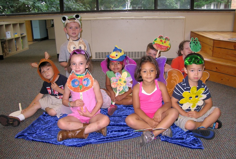 Flower faces at Imagine That, summer camp at Friends School of Minnesota
