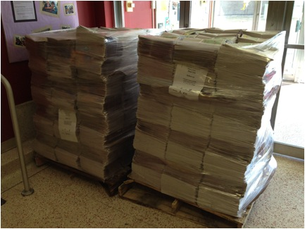How many Friends School Plant Sale catalogs do we distribute? 9 pallets of catalogs > about 110 bundles per pallet > 25 catalogs per bundle = 25,000 catalogs