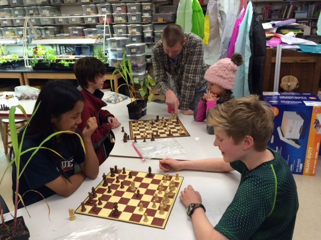 5th and 5th graders' chess elective with science teacher Steve Moe