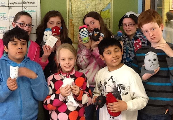 5th and 6th grade elective: sock animals with Melissa