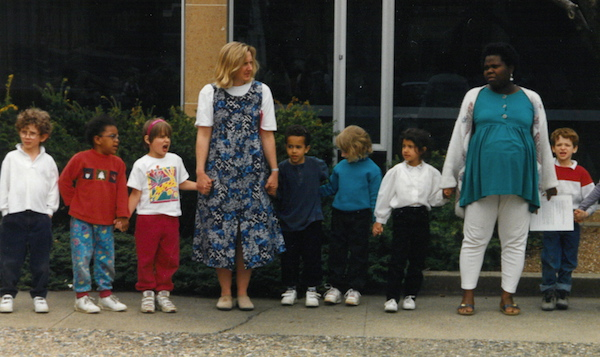 1995-96 Lili and Rositta with Kindergarten class