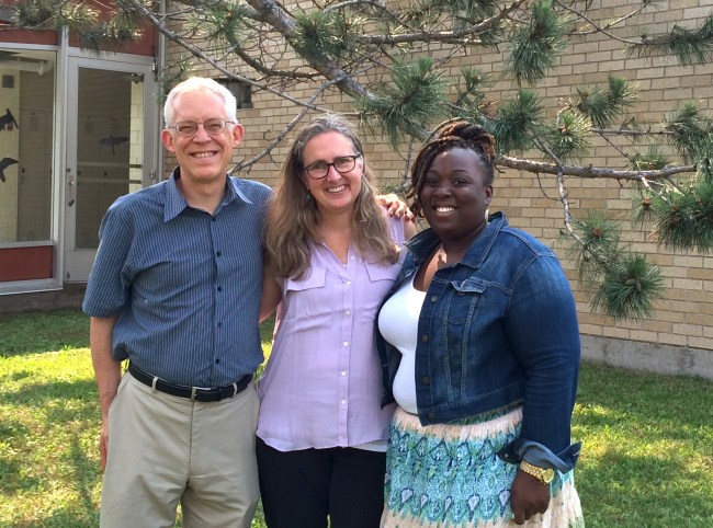 It was head of school Lili Herbert's last week at Friends School of Minnesota. Yesterday, Lili joined FSM's new head of school Latrisha Chattin (right) at the MAIS Heads' Retreat at Marshall School in Duluth. They also ran into FSM's former head of school Mark Niedermier (left), currently the head of school at Many Rivers Montessori in Duluth.