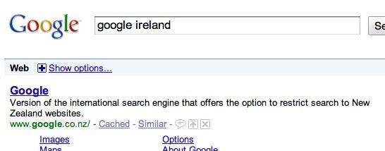 google ireland or google new zealand? - Google Search