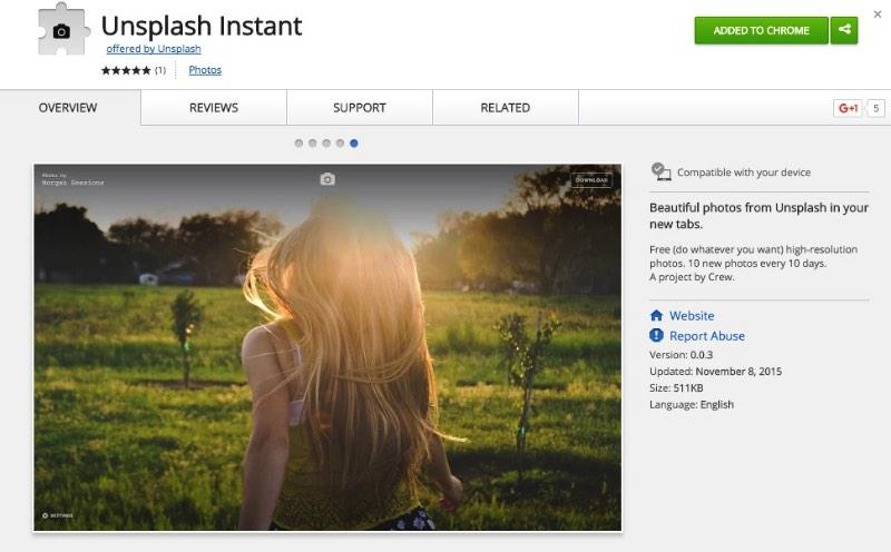 Unsplash Instant é uma extensão para Chrome que mostra todas as fotos que existem gratuitamente no Unsplash. Ao usar essa extensão, a cada vez que você abrir uma nova tab, vai ser surpreso com alguma das belíssimas fotos disponíveis no Unsplash.