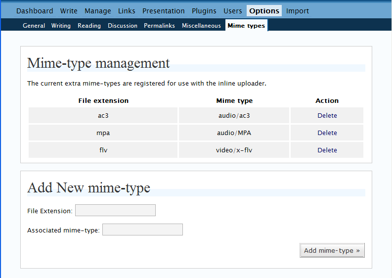 screenshot of the plugins options page