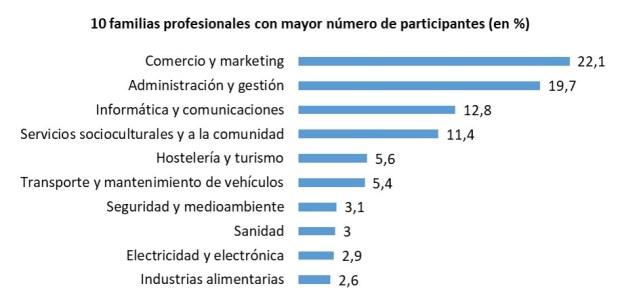 Familias profesionales con mayor número de participantes