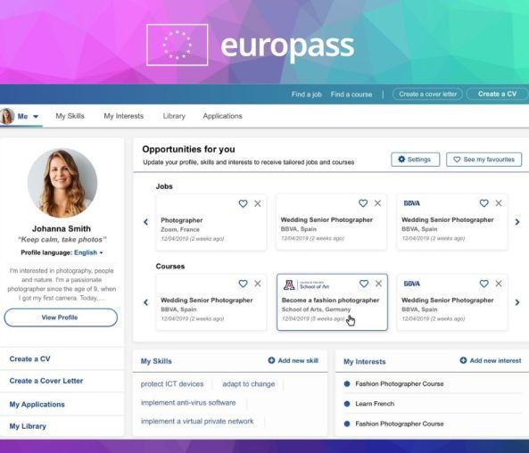 Perfil de usuario en Europass