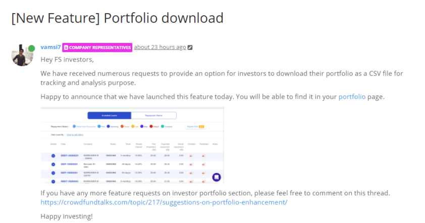 Adoption of users' feedback on Crowdfund Talks for portfolio download