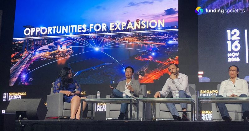 Co-founder of Funding Societies, Kelvin Teo speaking on Financial Inclusion at Singapore FinTech Festival