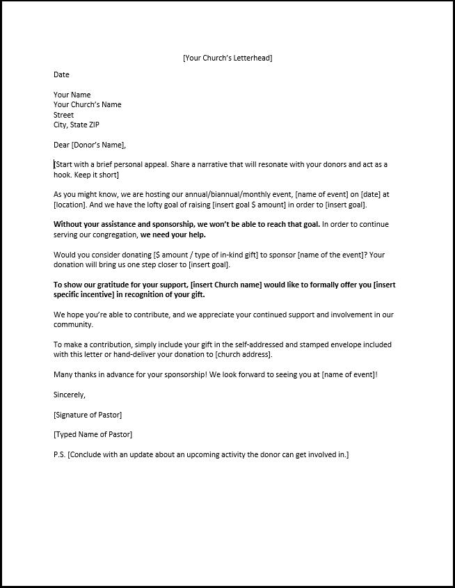 Church Sponsorship Letter Template