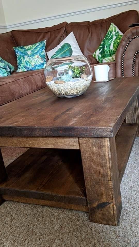 solid wood coffee table with shelf in living room