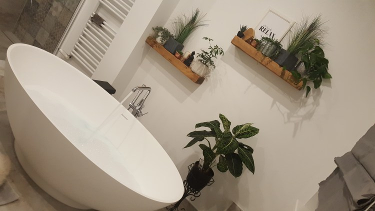 white bathroom with floating shelves and houseplants