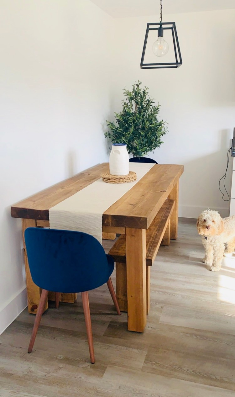 Chopwell Solid Wood Furniture Dining Table and Benches in family home