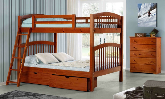 the naples twin over twin bunk bed comes with optional drawers bottom futon trundle or staircase for all your storage needs