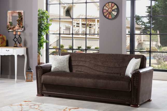 Alfa Jennifer Brown Convertible Sofa Bed
