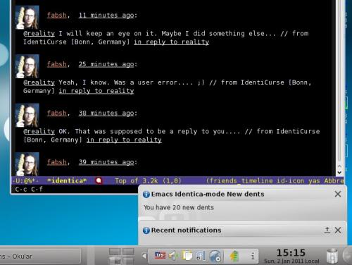 Emacs Identica-mode notifications