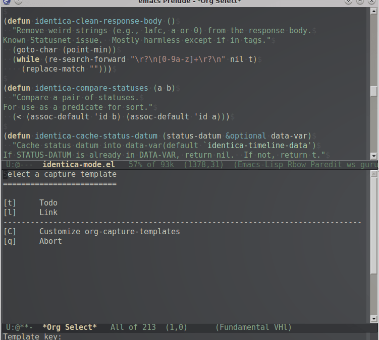 Quick note taking with Emacs and Org Capture