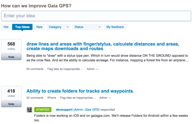 Gaia GPS user idea forum.