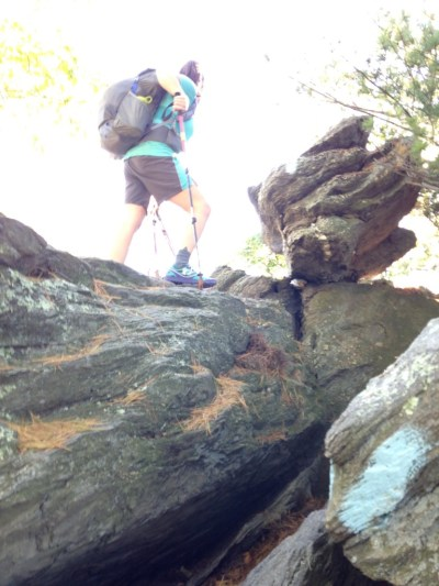 Notice the blue blaze on the boulder indicating a spur trail branching off of the AT