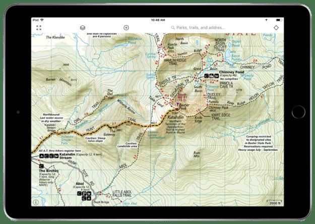 NatGeo Appalachian Trail map Gaia GPS layer of Mount Katahdin