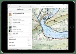 iPad NatGeo Appalachia Trail map sources on Gaia GPS