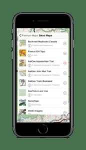 iPhone NatGeo Appalachian Trail base map on Gaia GPS