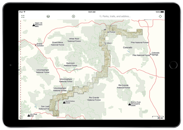 NatGeo Colorado Trail map in Gaia GPS
