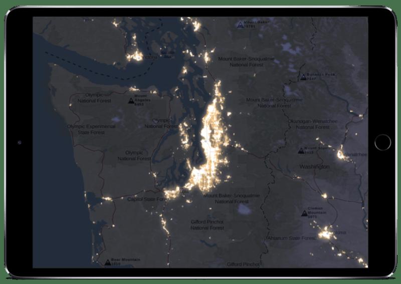 Light pollution overlay map in Gaia GPS on an ipad
